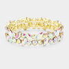 AB Crystal Marquis Stone Pageant Bracelet on Gold | Prom Bracelet