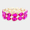 Fuchsia Double Row Crystal Teardrop Stretch Bracelet