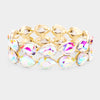 AB Double Row Crystal Teardrop Stretch Bracelet