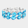 Aqua Double Row Crystal Teardrop Stretch Bracelet  | 432235