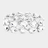 Clear Double Row Crystal Teardrop Stretch Bracelet