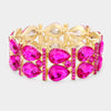 Fuchsia Teardrop Stretch Pageant Bracelet