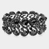 Black Crystal Rhinestone Stretch Pageant Bracelet | Prom Bracelet | 476996