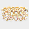 AB Crystal Rhinestone Stretch Pageant Bracelet on Gold | Prom Bracelet