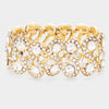 Clear Crystal Rhinestone Stretch Pageant Bracelet on Gold | Prom Bracelet