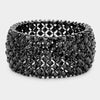 Jet Black Crystal Stretch Pageant Bracelet  Prom Bracelet