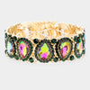 Slim Multi-Color Crystal Pear and Rhinestone Stretch Bracelet on Gold  | Pageant Jewelry