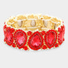 Slim Red Crystal Pear and Rhinestone Stretch Bracelet on Gold  | Pageant Jewelry