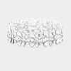 Clear Crystal Flower Stretch Pageant Bracelet  | Prom Bracelet