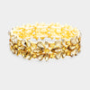 Topaz Crystal Flower Stretch Pageant Bracelet on Gold  | Prom Bracelet
