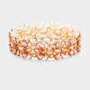 Peach Crystal Flower Stretch Pageant Bracelet on Rose Gold  | Prom Bracelet