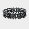 Black Crystal Flower Stretch Pageant Bracelet  | Prom Bracelet