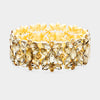 opaz Crystal Floral Pageant Stretch Bracelet on Gold | Prom Bracelet