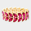Fuchsia Crystal Laurel Stretch Bracelet