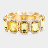 Yellow Crystal Rectangle Rhinestone Trim Pageant Bracelet