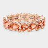 Peach Teardrop Crystal Pageant Bracelet with AB Stones