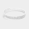"• Color : Clear, Silver • Size : 0.3"" H • Adjustable • 3Rows Crystal Rhinestone Pave Coil Bracelet"