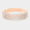 Clear Crystal Rhinestone Adjustable Prom Bracelet on Rose Gold | Pageant Bracelet | 448995