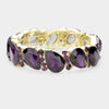 Purple Crystal Teardrop Stretch Bracelet