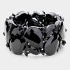 Large Black Crystal Teardrop Stretch Bracelet