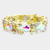 Pear Shape AB Crystal and Rhinestone Stretch Pageant Bracelet | Prom Bracelet