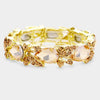 Pear Shape Topaz Crystal and Rhinestone Stretch Pageant Bracelet | Prom Bracelet