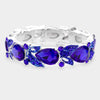 Pear Shape Sapphire Crystal and Rhinestone Stretch Pageant Bracelet | Prom Bracelet