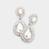 Small AB Teardrop Crystal Rhinestone Earrings