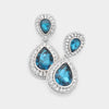 Small Teal Teardrop Crystal Rhinestone Earrings
