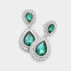 Small Emerald Teardrop Crystal Rhinestone Earrings