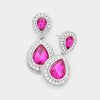 Small Fuchsia Teardrop Crystal Rhinestone Earrings