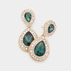 Small Emerald Teardrop Crystal Rhinestone Earrings on Gold  | 492246