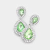 Small Green Teardrop Crystal Rhinestone Earrings