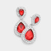 Small Red Teardrop Crystal Rhinestone Earrings