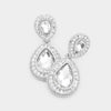 Small Clear Teardrop Crystal Rhinestone Earrings