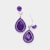 Purple Crystal Teardrop Dangle Evening Earrings