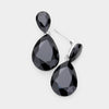 Little Girls Black Small Crystal Drop Pageant Earrings