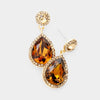 Small Topaz Crystal And Rhinestone Trimmed Dangle Earrings on Gold