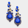 Sapphire Crystal teardrop vine earrings on Gold