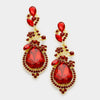Dark Red Crystal Teardrop Vine Earrings on Gold| 339788