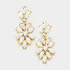 Clear Crystal Oval Cluster Vine Pageant Earrings on Gold