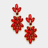 Red Crystal Oval Cluster Vine Pageant Earrings on Gold