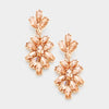 Peach Crystal Oval Cluster Vine Pageant Earrings on Rose Gold