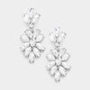 Clear Crystal Oval Cluster Vine Pageant Earrings