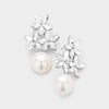 Clear Crystal Flower and Pearl Earrings | Flower Girl Earrings