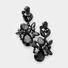 Black Crystal Floral Chandelier Pageant Earrings | Prom Earrings