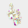 AB Crystal Floral Vine Evening Earrings on Gold