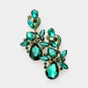 Emerald Crystal Floral Chandelier Pageant Earrings | Prom Earrings on Gold