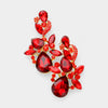 Red Crystal Floral Chandelier Pageant Earrings | Prom Earrings on Gold