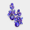 Sapphire Crystal Floral Chandelier Pageant Earrings | Prom Earrings